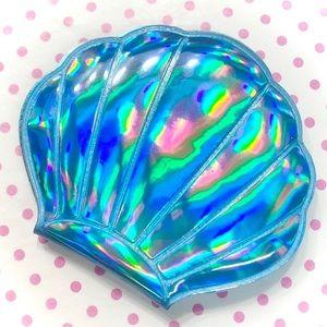 Kawaii Blue Holographic Sea Shell Mirror Compact